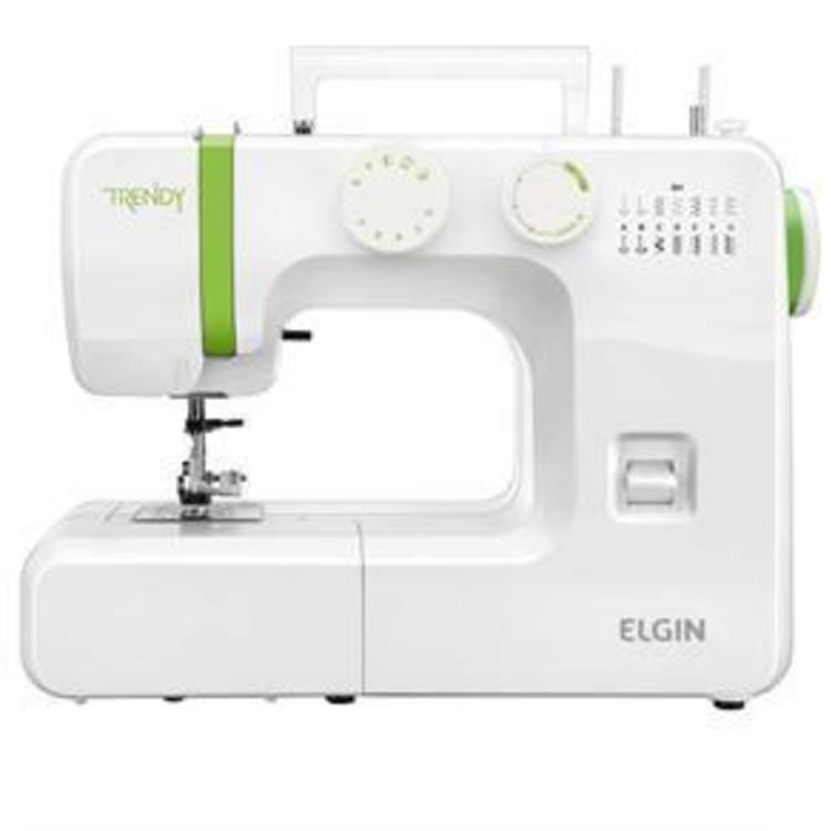 Thumb maquina de costura portatil elgin trendy jx 3013 prega botoes e ziperes com luz na costura braco livre   branco verde 3074371