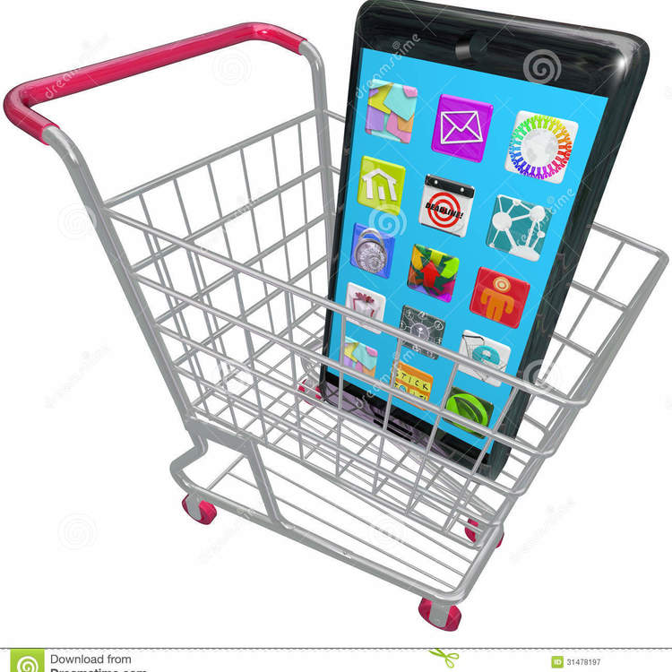 Thumb carrinho de compras esperto de apps do telemvel do telefone que compra o telefone novo 31478197